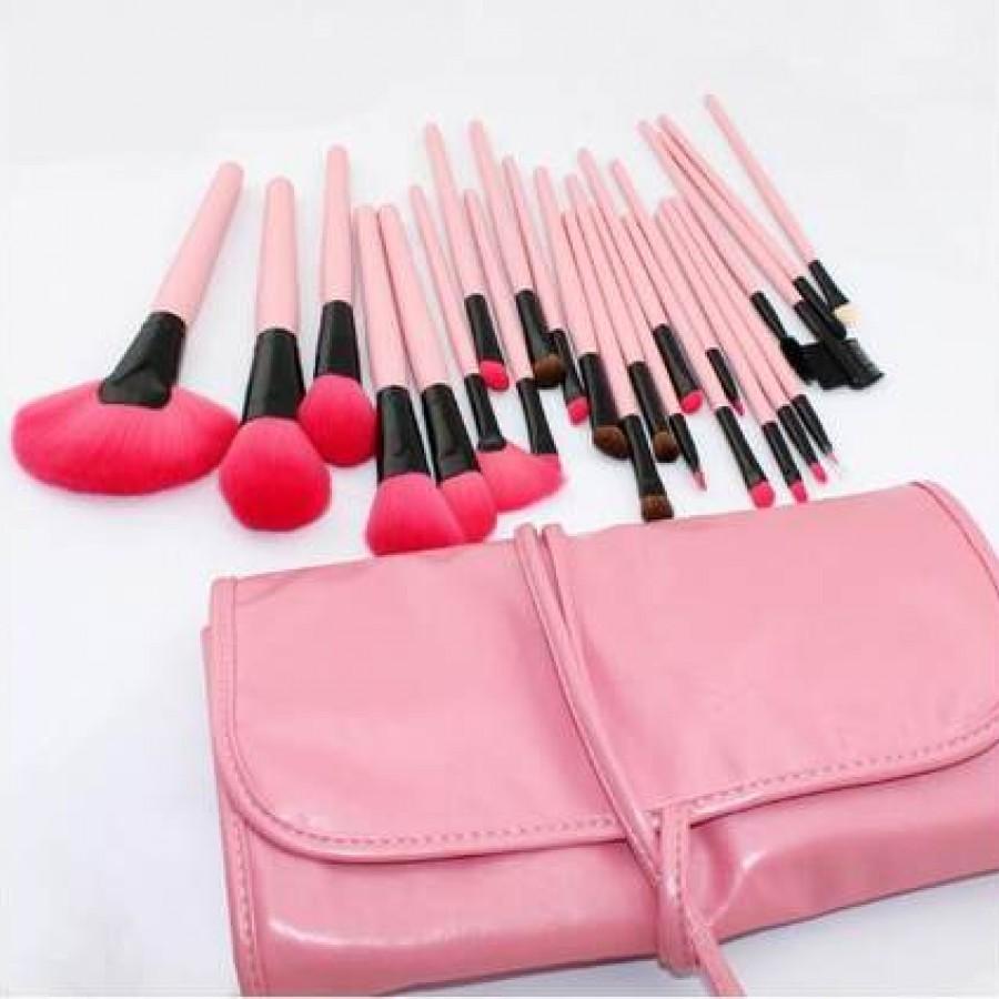Кисти для макияжа цвет: розовый набор 24 штуки