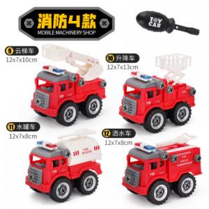 Набор из 4 машинок на шурупах,пожарные арт ОГ116