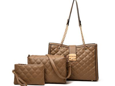 Комплект сумок из 3 предметов арт А413,цвет: светло-коричневый