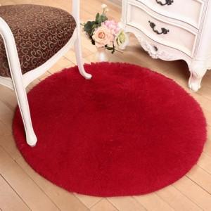 Меховые ковры КРУГЛЫЕ арт КВ40 толщина 4 см, цвет:красный