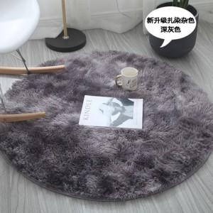 Меховые ковры КРУГЛЫЕ арт КВ40 градиент, цвет:темно-серый