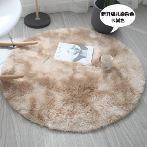 Меховые ковры КРУГЛЫЕ арт КВ40 градиент, цвет:хаки