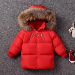 Куртка детская арт КД092, цвет:красный,пух