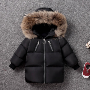 Куртка детская арт КД092, цвет:черный, пух