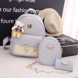 Комплект рюкзак из 3 предметов арт Р507, цвет:груша серый