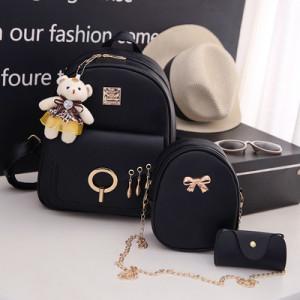 Комплект рюкзак из 3 предметов арт Р507, цвет:груша черный