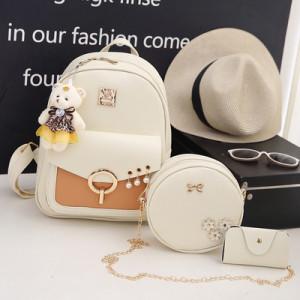 Комплект рюкзак из 3 предметов арт Р507, цвет: жемчуг белый