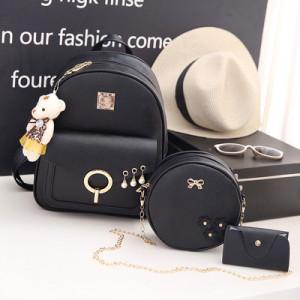 Комплект рюкзак из 3 предметов арт Р507, цвет: жемчуг черный