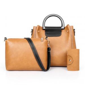 Комплект сумок из 3 предметов арт А397,цвет:коричневый
