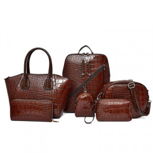 Комплект сумок из 6 предметов арт А396,цвет:коричневый