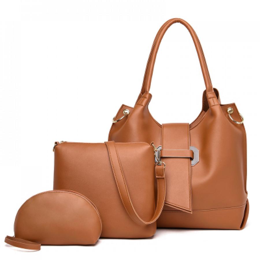 Комплект сумок из 3 предметов арт А401,цвет:коричневый