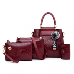 Комплект сумок из 4 предметов арт А407,цвет:красный