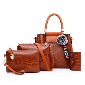 Комплект сумок из 4 предметов арт А407,цвет:коричневый
