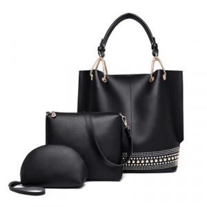 Комплект сумок из 3 предметов арт А408,цвет:черный