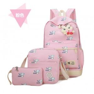 Набор рюкзак из 3 предметов арт Р357 мыши, розовый