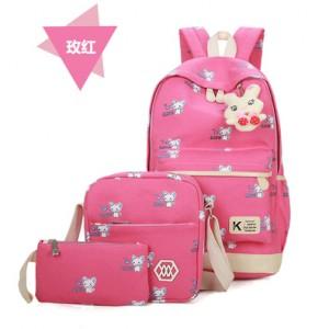 Набор рюкзак из 3 предметов арт Р357 мыши, розово-красный