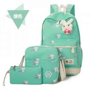 Набор рюкзак из 3 предметов арт Р357 мыши, зеленый