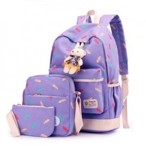 Набор рюкзак из 3 предметов арт Р358, фиолетовый 6211