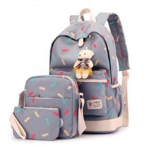 Набор рюкзак из 3 предметов арт Р358, серый 6211