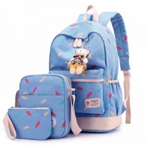 Набор рюкзак из 3 предметов арт Р358, голубой 6211