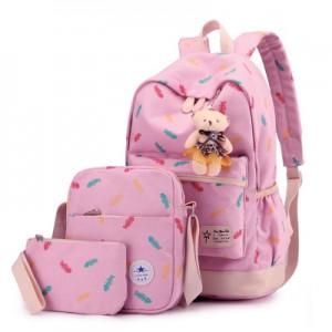 Набор рюкзак из 3 предметов арт Р358, светло-розовый 6211
