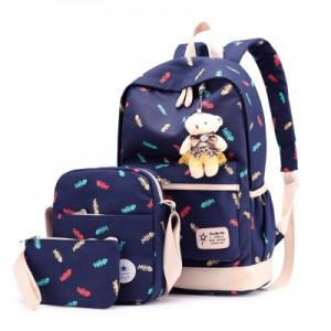 Набор рюкзак из 3 предметов арт Р358, темно-синий 6211
