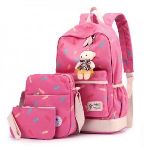Набор рюкзак из 3 предметов арт Р358, розово-красный 6211