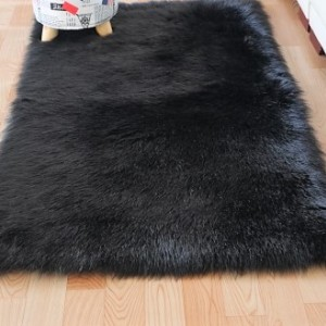 Ковёр с искусственным мехом, черный арт 5035