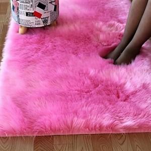 Ковёр с искусственным мехом, розовый арт 5035