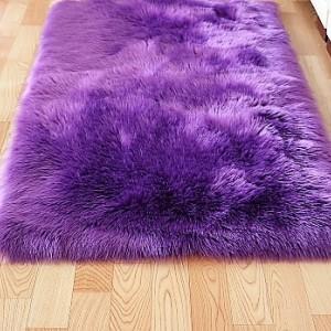 Ковёр с искусственным мехом, фиолетовый арт 5035