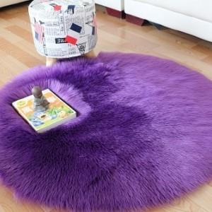 Ковёр с искусственным мехом,фиолетовый арт 5046