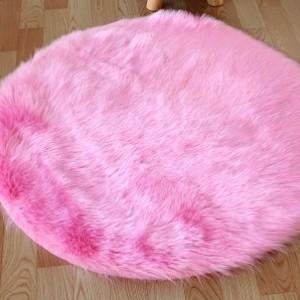 Ковёр с искусственным мехом,розовый арт 5046
