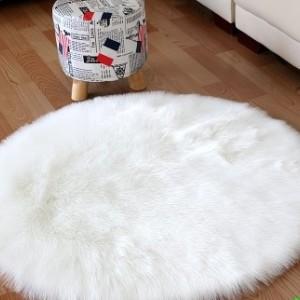 Ковёр с искусственным мехом,белый арт 5046